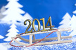 2014 new year numbers on sled abstract on snow background