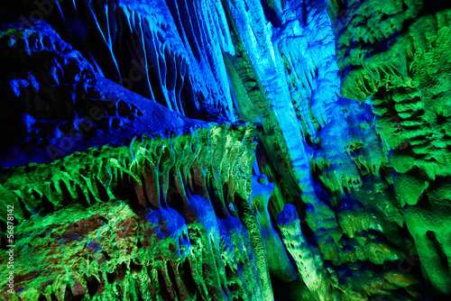 stalactites of Reed Flute Caves in Guilin, China