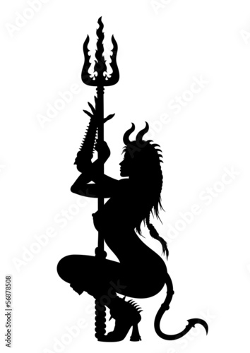 Devil woman striptease silhouette