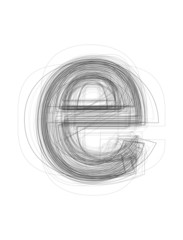 "Sketchy alphabet lowercase letter ""e"""