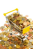 a shopping cart is filled with well-euro coins