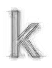 "Sketchy alphabet lowercase letter ""k"""