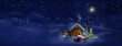 Santa with presents, deers, Christmas tree, hut. Panorama - 56879310