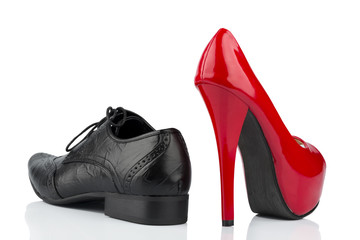 high heels and men's shoe
