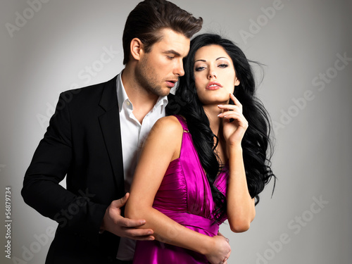 Portrait of young beautiful couple in love
