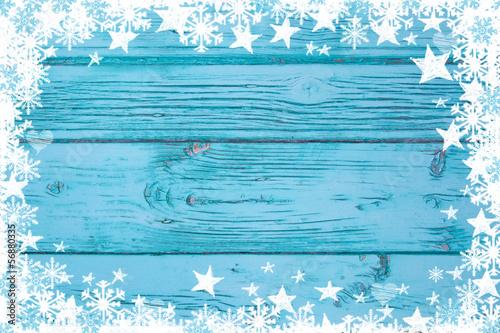 Weihnachtlicher winterlicher Hintergrund in Türkis mit Rahmen