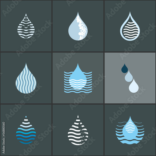 Drops with waves - icon set. Design elements collection