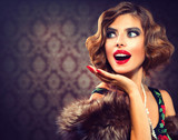 Retro Woman Portrait. Surprised Lady. Vintage Styled Photo