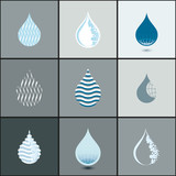Drops icon set - abstract design elements collection