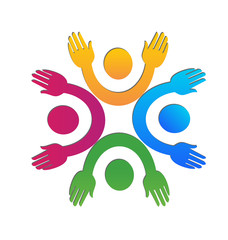 Hands up team logo vector