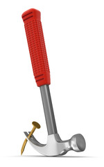 Hammer  and nail (clipping path included)