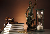 Golden scales of justice, books, Statue of Lady Justice