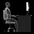 illustration of a man working on pc - correct sitting posture
