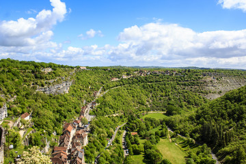 View of the Rocamadour village, Lot, France
