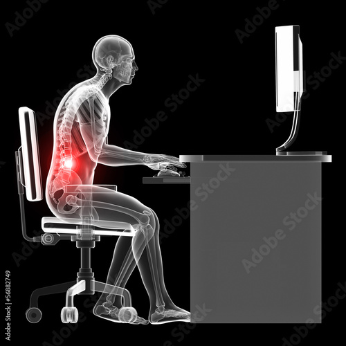 illustration of a man working on pc - wrong sitting posture