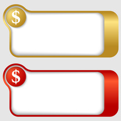 set of two abstract text frames with dollar sign