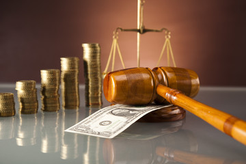 Golden scales of justice,dollar money, Gold coins