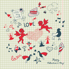 Love background with romantic sketch