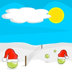 christmas tennis match balls in snow with santa hats