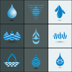 drops with waves icon set - abstract design elements collection