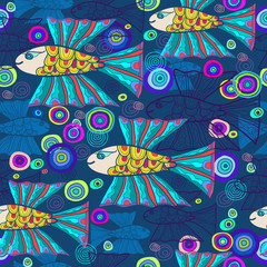 Seamless pattern with flying fish