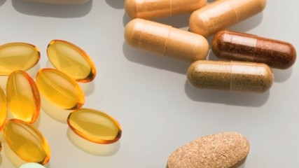 Close up of an assortment of vitamin pills