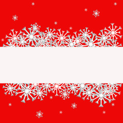 Snowflakes on a red background, christmas illustration