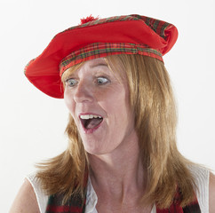 Woman wearing Tam o Shanter scottish hat