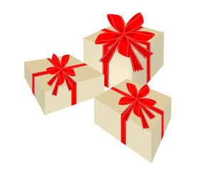 Three Beautiful Gift Boxes with Red Ribbon