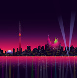 Toronto at Night - Vector illustration