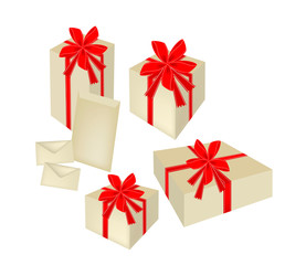 Set of Gift Boxes with Red Ribbon and Cards
