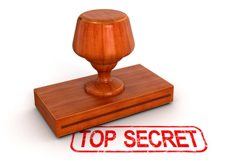 Rubber Stamp top secret  (clipping path included)