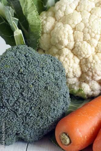 Broccoli carrots and cauliflower