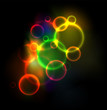 Abstract background with neon glowing bubbles