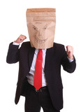 Business man bag on his head isolated on white ready to fight