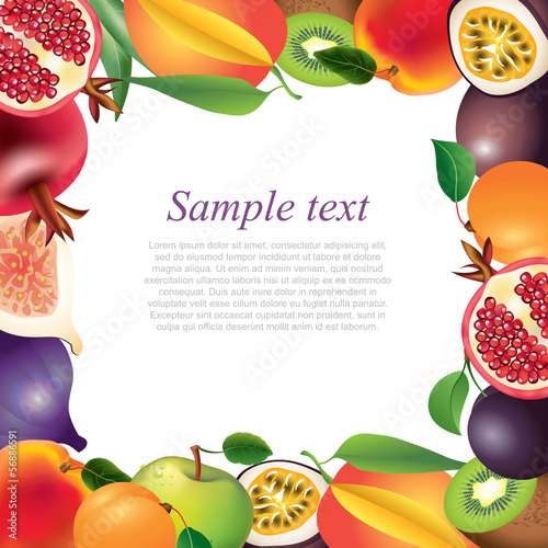 Fresh fruits frame background