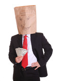 Evil business man bag on head hold money notes