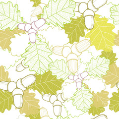 Autumn seamless pattern with oak leaves