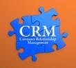 CRM on Blue Puzzle Pieces. Business Concept.
