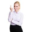 attraktive junge Geschäftsfrau mit Einfall