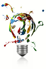 Paint explosion of light bulb