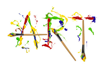 Paint and painbrushes painted word art
