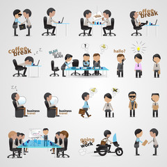 Business People Set - Isolated On Gray Background