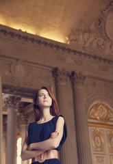 Redhead girl in Versailles