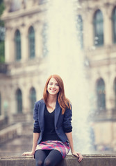 Portrait of a beautiful redhead girl in Dresden