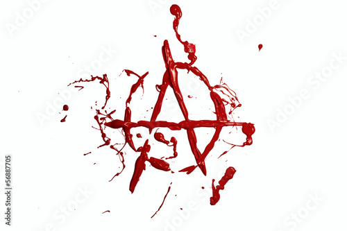Red paint painted anarchy sign