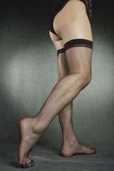 Woman wearing black hold-ups