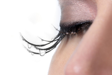 Woman With Tears Dripping from Her Eyelashes