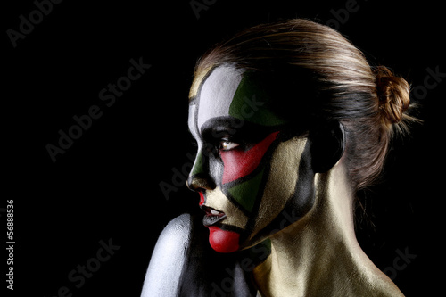 Woman Painted Like Stained Glass Window Beauty Concept