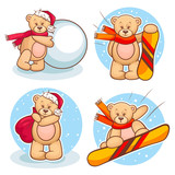 winter teddy bears set